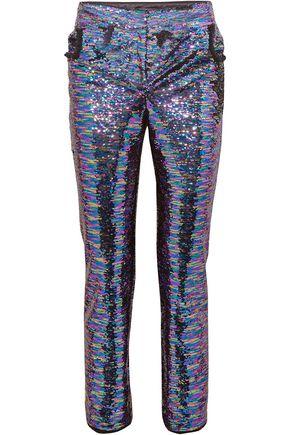 BALMAIN Sequined crepe straight-leg pants