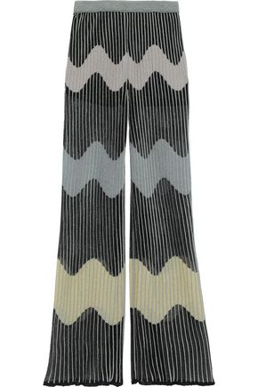 M MISSONI Metallic ribbed crochet-knit wide-leg pants