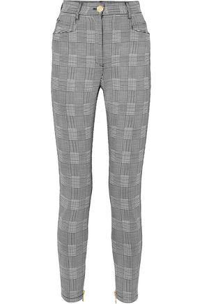 BALMAIN Prince of Wales coton-blend slim-leg pants