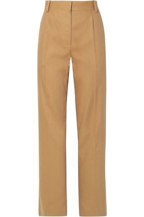THE ROW Thea pleated linen and cotton-blend straight-leg pants
