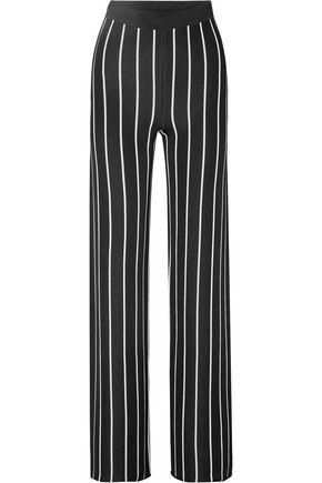 BALMAIN Striped stretch-knit wide-leg pants