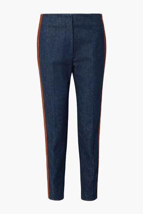 CALVIN KLEIN 205W39NYC Zip-detailed striped high-rise slim-leg jeans