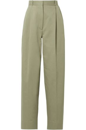 THE ROW Nica pleated cotton-twill straight-leg pants