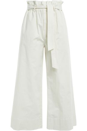 FRAME Cropped stretch-cotton wide-leg pants