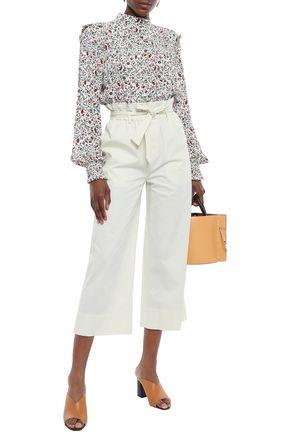 FRAME Cropped stretch-cotton wide-leg pants