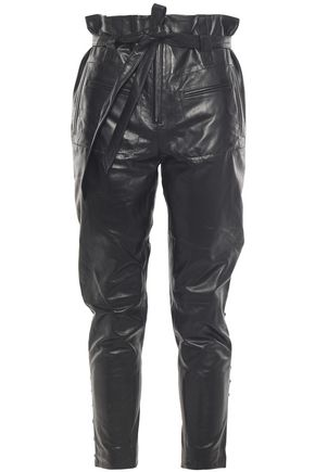 IRO Instinct cropped lace-up leather tapered pants