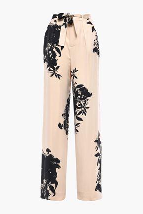 EQUIPMENT Evonne belted floral-print washed silk-blend wide-leg pants