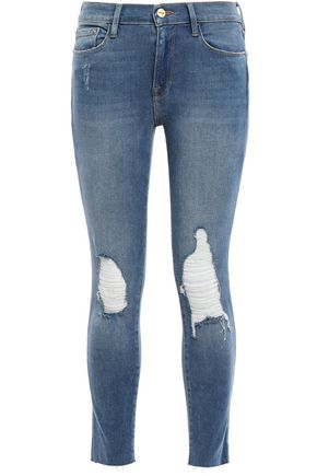 FRAME Distressed faded mid-rise skinny jeans