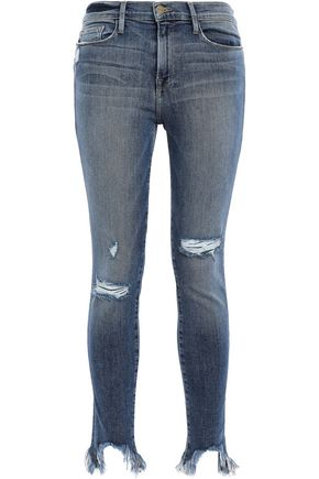 FRAME Le Skinny de Jeanne cropped distressed high-rise skinny jeans