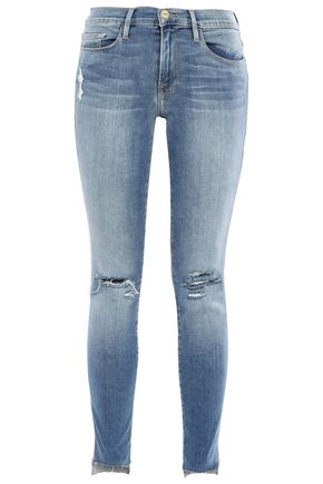 FRAME Cropped distressed mid-rise skinny jeans