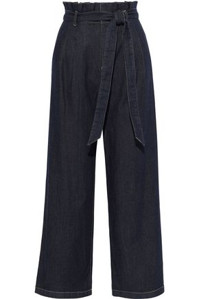 ALICE + OLIVIA Ryan belted ruffle-trimmed high-rise wide-leg jeans