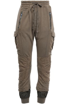 HAIDER ACKERMANN Satin twill-paneled distressed French cotton-terry track pants