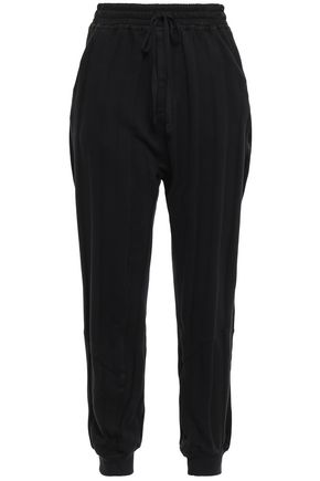 HAIDER ACKERMANN Satin-trimmed striped French cotton-terry track pants