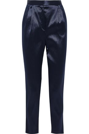 MANSUR GAVRIEL Crinkled satin-twill tapered pants