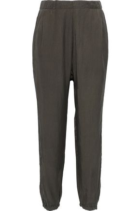 CLU Washed silk and cotton-blend track pants
