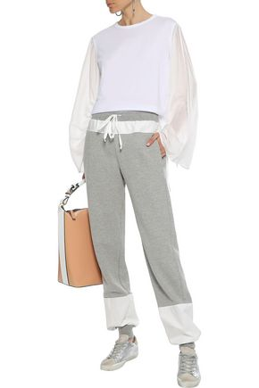 CLU Satin twill-paneled French cotton-blend terry track pants