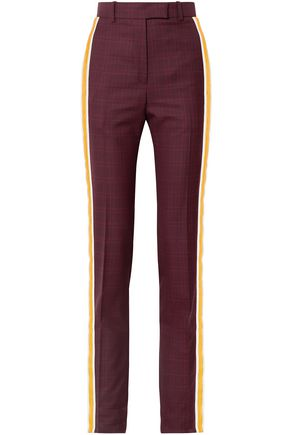 CALVIN KLEIN 205W39NYC Prince of Wales checked wool and silk-blend straight-leg pants