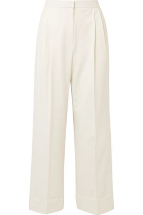 THE ROW Lian pleated wool-blend wide-leg pants