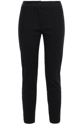 ANN DEMEULEMEESTER Floral jacquard-trimmed linen-blend slim-leg pants
