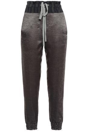 ANN DEMEULEMEESTER Jacquard-trimmed crinkled-satin track pants
