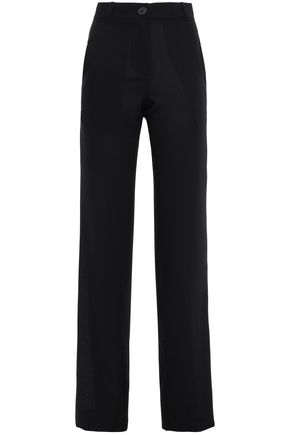 ANN DEMEULEMEESTER Paneled wool-jacquard and twill straight-leg pants