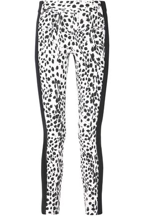 ANN DEMEULEMEESTER Leopard-print wool and leather slim-leg pants