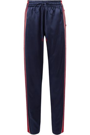 MONSE Snap-fastening striped silk-blend satin track pants