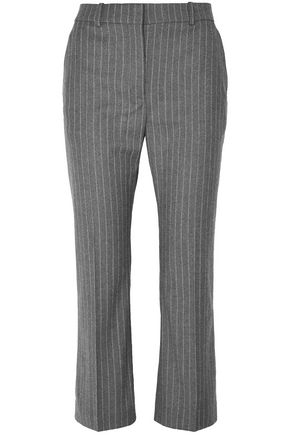 ALTUZARRA Adler cropped pinstriped wool-blend flared pants