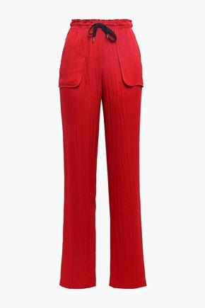 ROLAND MOURET Huddersfield hammered silk-satin straight-leg pants
