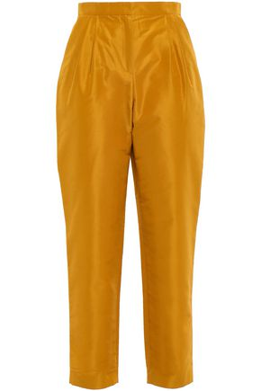 MANSUR GAVRIEL Pleated cotton and silk-blend taffeta tapered pants