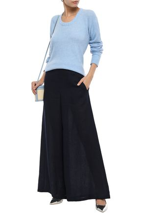 Mansur Gavriel Woman Linen Wide-Leg Pants Midnight Blue