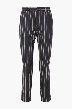 ROKH Button-detailed striped wool and cotton-blend striaght-leg pants