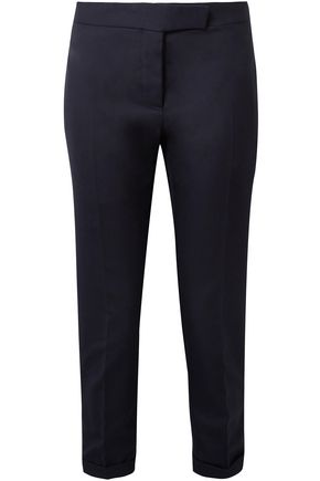 THOM BROWNE Cropped wool-piqué slim-leg pants