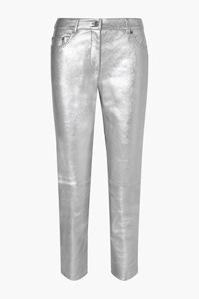 MOSCHINO Metallic leather straight-leg pants