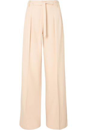 ROLAND MOURET Belted alpaca and wool-blend wide-leg pants