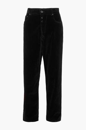 BEN TAVERNITI™ UNRAVEL PROJECT Baggy Boy cropped cotton-blend velvet wide-leg pants