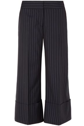 MONSE Pinstriped wool-crepe culottes