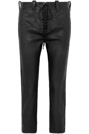 BEN TAVERNITI™ UNRAVEL PROJECT Cropped lace-up leather straight-leg pants