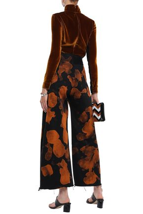 MARQUES' ALMEIDA Frayed printed high-rise wide-leg pants