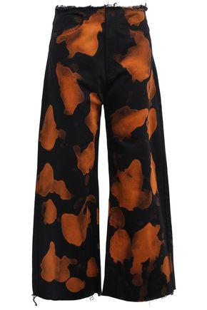MARQUES' ALMEIDA Frayed printed high-rise wide-leg pants