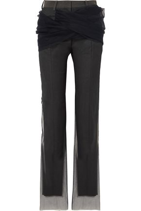 Y/PROJECT Twisted tulle and twill straight-leg pants