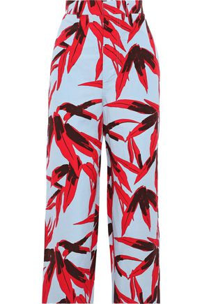 MARNI Cropped printed cotton and linen-blend straight-leg pants