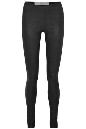 RICK OWENS Textured-leather and stretch-cotton leggings