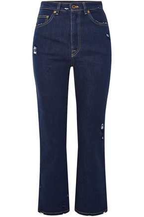 MIU MIU Cropped distressed lace-trimmed high-rise flared jeans