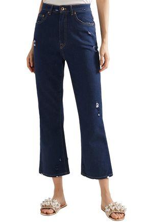 MIU MIU Cropped distressed lace-trimmed high-rise flared jeans