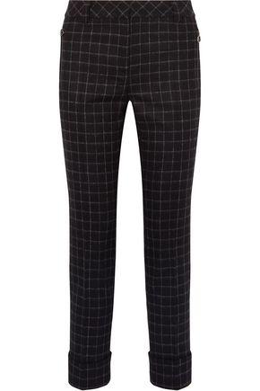 AKRIS Checked wool-flannel straight-leg pants