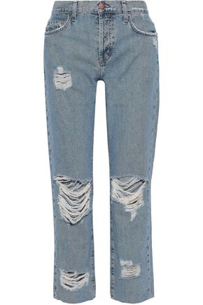 CURRENT/ELLIOTT The Original Straight cropped distressed high-rise straight-leg jeans