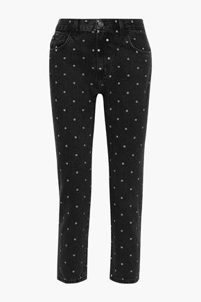 CURRENT/ELLIOTT The Vintage cropped polka-dot high-rise straight-leg jeans