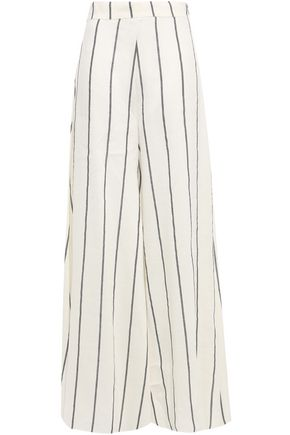 PAPER London Striped linen-blend wide-leg pants