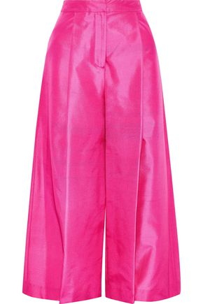 NOVIS The Shelburne cropped silk-shantung wide-leg pants